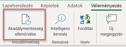 Képernyőkép az Akadálymentesség-ellenőrző megnyitásáról