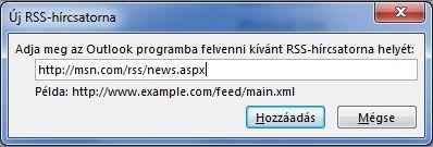 Az RSS-hírcsatorna URL-címének megadása