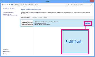 Beviteli mód megadása a Windows 8 vezérlőpultján