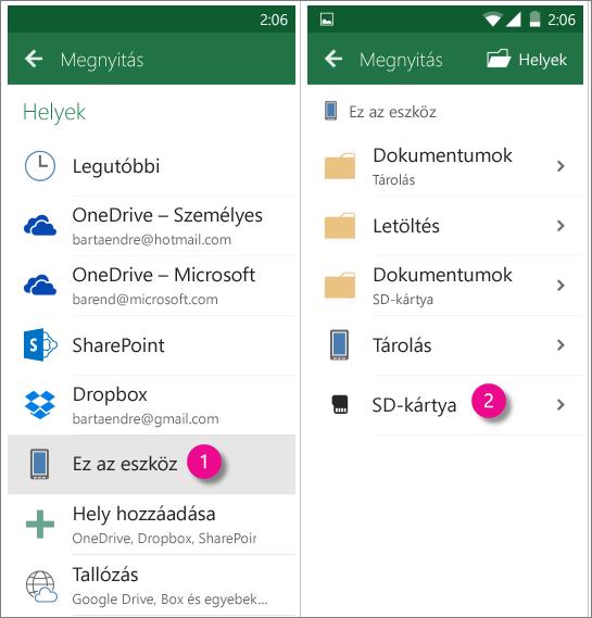 Az Office for Android Ft kártya