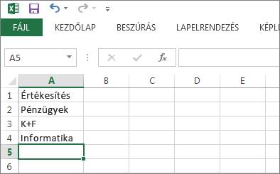 Legördülő lista elemeinek létrehozása egyetlen oszlopból vagy sorból az Excelben