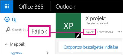 Képernyőkép: kattintás az egyik csoportban a Fájlok elemre a csoport OneDrive-tárterületének megnyitásához