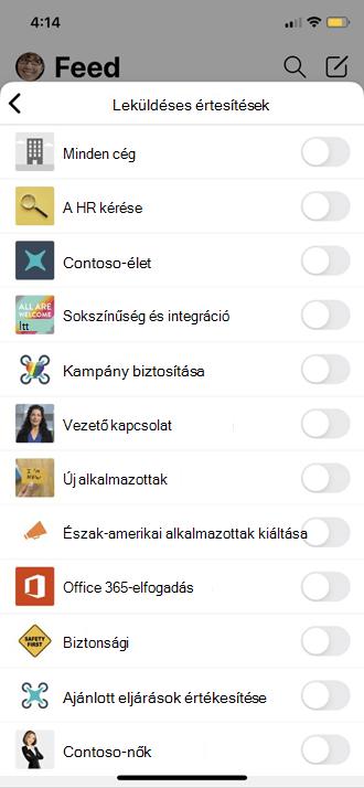 A Yammer leküldése a mobil profil beállításai között