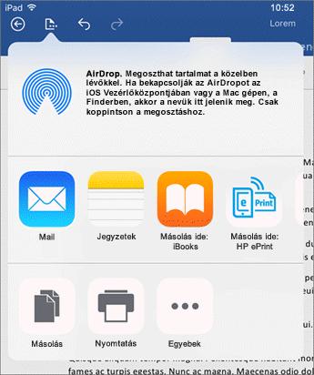 A Nyomtatás egy másik appban párbeszédpanelen elküldheti a dokumentumot egy másik appba, ahol e-mailben elküldheti, nyomtathatja vagy megoszthatja azt.