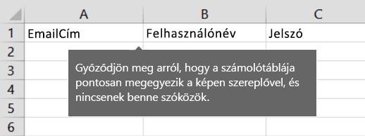 Cellafejlécek az áttelepítési Excel-fájlban