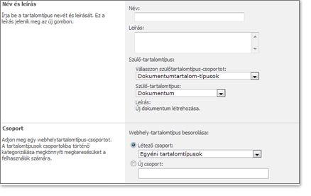 Új webhely-tartalomtípus ablak