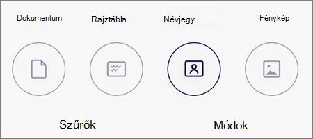 A képvizsgálatok üzemmódjának beállításai iOS OneDrive-ban