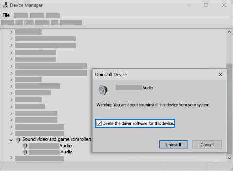 Az eszköz illesztőprogram-szoftverének törlése és eltávolítása