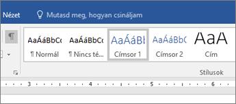 Képernyőkép a címsorstílus-beállításokról