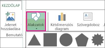 A Power Map Kezdőlap lapjának Alakzat gombja
