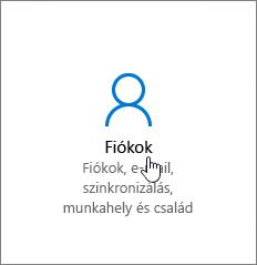 Lépés a Windows-beállítások Fiókok lapjára