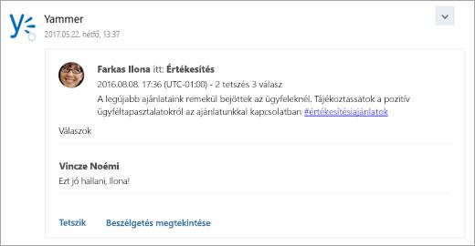 Képernyőkép egy csatlakoztatott szolgáltatás által megjelenített kártyáról, amely a csoport postaládájába érkezik