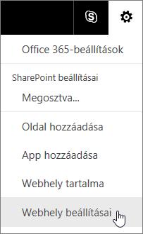Válassza a Beállítások > Webhelybeállítások lehetőséget