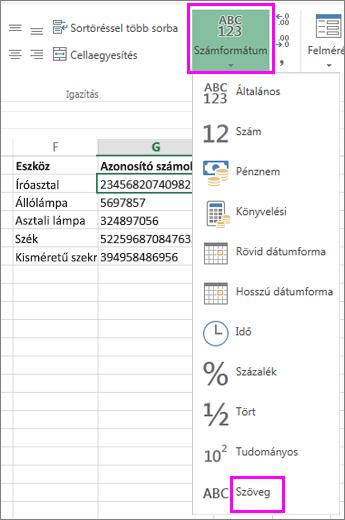 szöveg formátum alkalmazása számokra