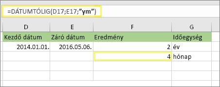 """= DÁTUMTÓLIG (D17; E17; """"ym"""") és eredmény: 4"""