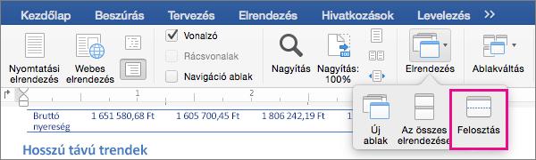 A Word-ablak két nézetre való felosztásához kattintson a Felosztás lehetőségre.