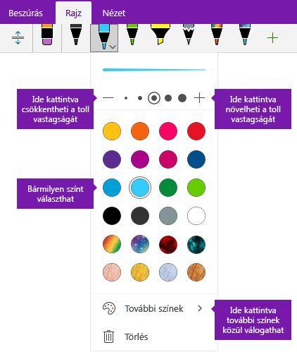 Szabadkézi körvonal vastagságát és színét beállításai a Windows 10 OneNote-ban