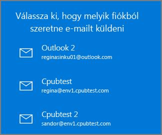 Fiók kiválasztása e-mail küldéséhez