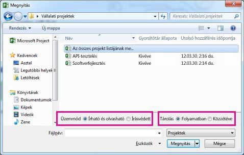 A Megnyitás párbeszédpanel Project Web App-fájlokkal