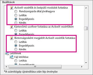Az ActiveX-vezérlők Internet Explorerben való betöltésének és futtatásának engedélyezése