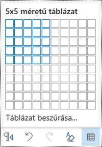 Táblázat rácsa a webes Outlookban.