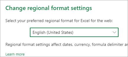 Területi formátum beállításainak módosítása