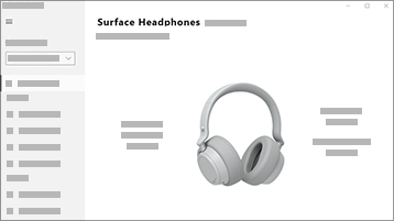 Képernyőkép a Surface Audio alkalmazásról Surface Headphones fejhallgatóval