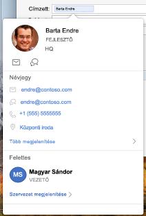 Névjegykártya az Outlook naptárban