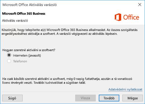 Az Office 365 Vállalati verzió Aktiválás varázslója