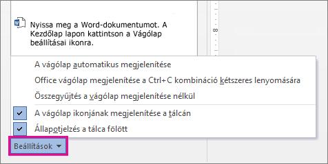 A vágólap beállításai a Word 2013-ban
