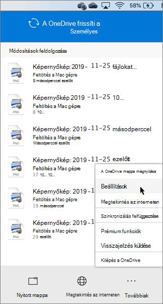 Képernyőkép: a OneDrive – személyes beállításainak megadása