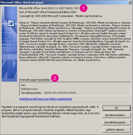 A Microsoft Office Word 2003 névjegye ablak