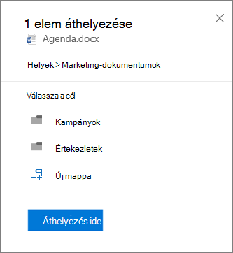 Képernyőkép: fájl áthelyezése a OneDrive vállalati verzióból egy SharePoint-webhelyre