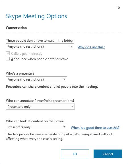 A Skype Vállalati verzió értekezletbeállításainak párbeszédpanelje