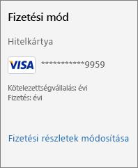 """Képernyőkép a """"Fizetési részletek módosítása"""" hivatkozásról"""