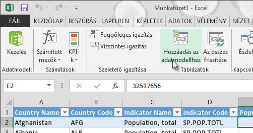 Új adatok hozzáadása az adatmodellhez