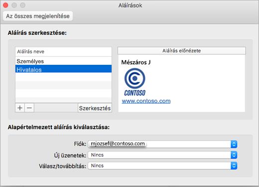 Az Outlook Beállítások > Aláírások lap