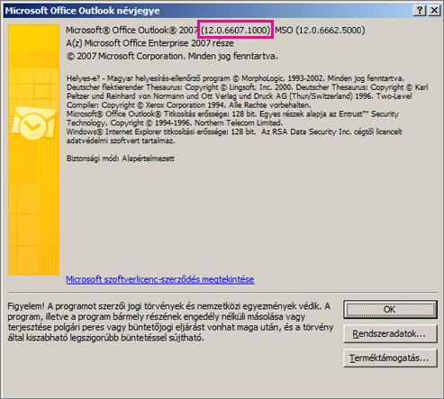 """Képernyőkép az Outlook 2007 verziószámát megjelenítő területről, amely """"A Microsoft Office Outlook névjegye"""" párbeszédpanelen látható."""