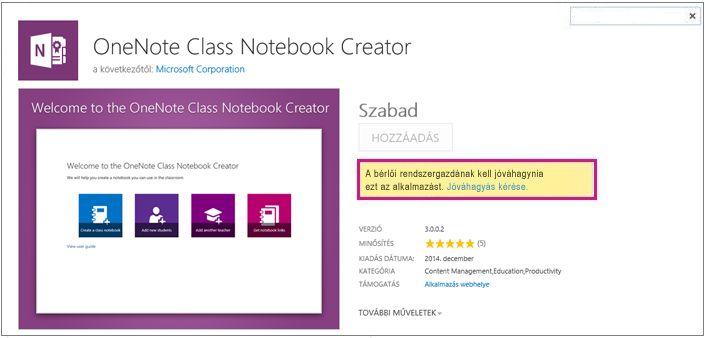 Képernyőkép az alkalmazás részleteit tartalmazó lapról, kiemelt Jóváhagyási kérelem hivatkozással