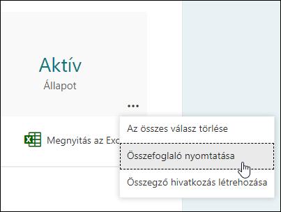 A Microsoft Forms összefoglaló funkciójának nyomtatása
