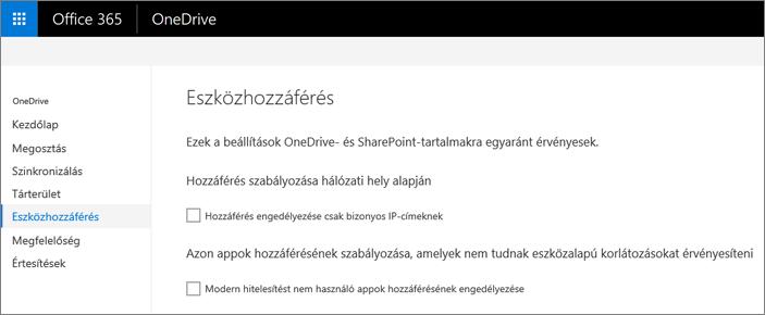 Az Eszközhozzáférés lap a OneDrive Felügyeleti központban