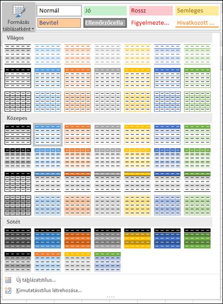 Az Excel-táblázatstílusok gyűjteménye