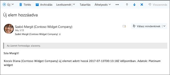 A címzett által Microsoft Flow e-mail, ha egy elem megváltozott