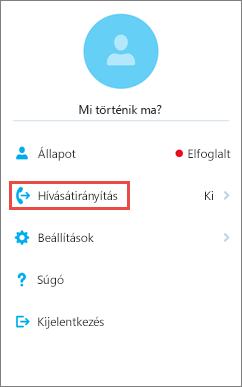 Az iOS Skype Vállalati verzió kezdőképernyője – hívásátirányítási beállítás