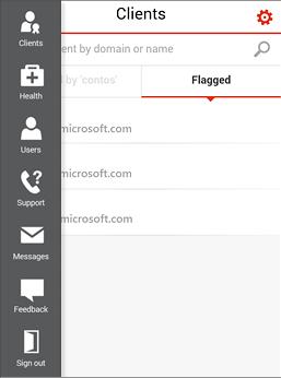 Az Office 365 Partner Admin mobilalkalmazás menüje