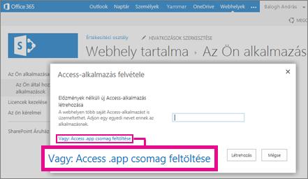 """Access-alkalmazáscsomag feltöltése a SharePoint-webhely """"Alkalmazás hozzáadása"""" lapján"""