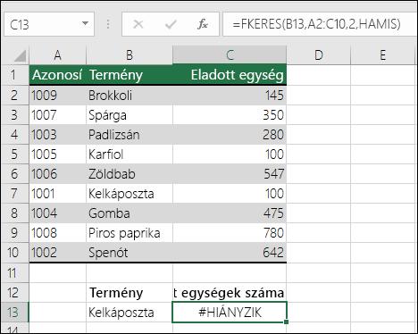 #HIÁNYZIK hiba az FKERES függvényben: A keresési érték nem a táblázattömb első oszlopában szerepel