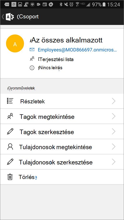 A tagság vagy a tulajdonosok, illetve hasonló részletek szerkesztéséhez jelölje ki a csoportot az Office 365 Admin appban.
