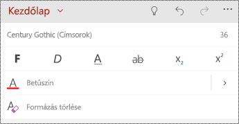 Szöveg formázása beállítások a PowerPoint Mobile Windows rendszerű telefonok.