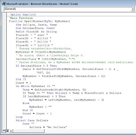 A Modul1 (kód) mezőbe beillesztett kód.